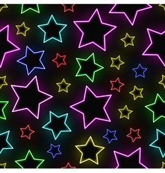 Seamless neon stars background vector