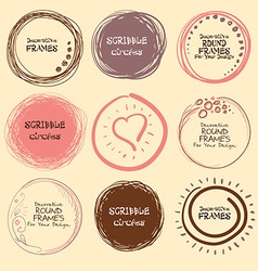 Set of hand drawn scribble circles and decorative vector image vector image