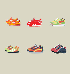 Sport shoes in six kinds with flat background vector