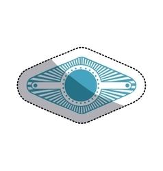 Sticker blue stamp abstract art deco emblem vector