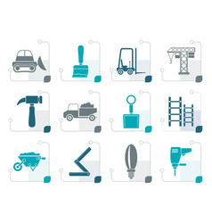 stylized building and construction equipment icons vector image vector image