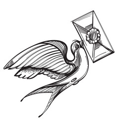 swallow carries a letter old school tattoo style vector image