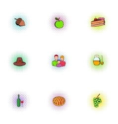 Thanksgiving feast icons set pop-art style vector