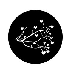 Tree plant branches with heart icon vector
