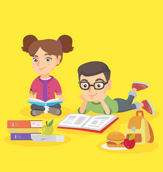 two caucasian children doing homework together vector image
