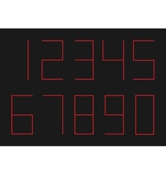 Ultra thin red numbers vector