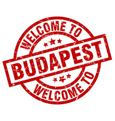 Welcome to budapest red stamp vector