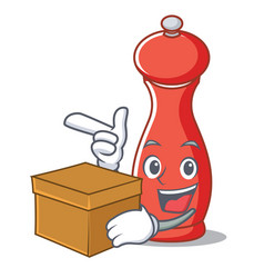 With box pepper mill character cartoon vector