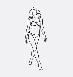woman in bikini sketch vector image vector image