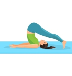 Yoga asana pose of girl lying on rug and taking vector