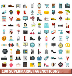 100 supermarket agency icons set flat style vector image