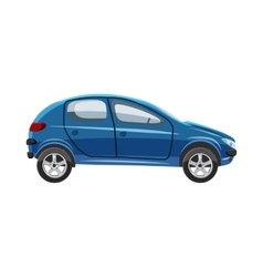 Blue hatchback car icon cartoon style vector image