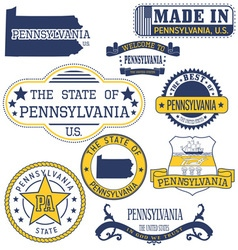 Pennsylvania set of generic stamps and signs vector
