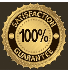 100 percent satisfaction guarantee golden sign vector