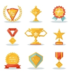 Gold awards win symbols trophy isolated polygonal vector