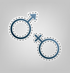 Sex symbol sign  blue icon with outline vector