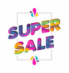 Super sale quote sign price discount in fun color vector