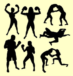 Fighting male and female sport silhouette vector