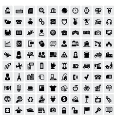 100 web icons vector image
