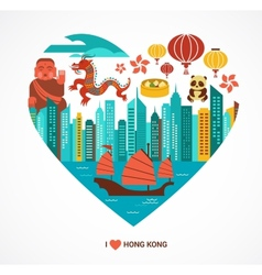 Hong kong love background and vector