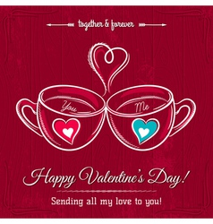 Red valentine card with two cup of hot drink vector