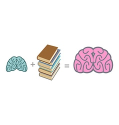 Brain and books use reading to mind a stack of vector