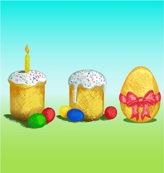 Easter bread and eggs vector