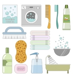 Items in the bathroom set of flat icons vector