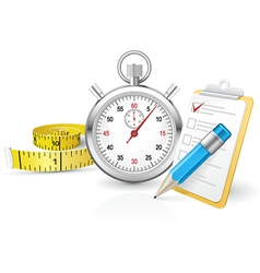 Stopwatch with clipboard and tape measure vector