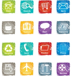 Icon set grunge for web and internet vector