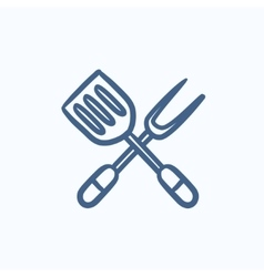 Kitchen spatula and big fork sketch icon vector