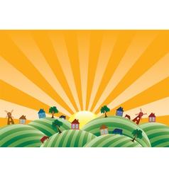 agricultural landscape vector image