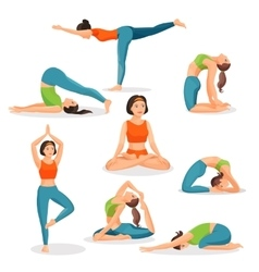 Asana yoga collection of girls doing sport in vector