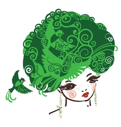 Birdy girl green vector