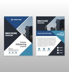 Blue triangle annual report brochure template vector