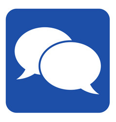 Blue white sign - two speech bubbles icon vector