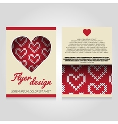 Brochure flier design template with heart pattern vector
