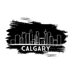 calgary skyline silhouette hand drawn sketch vector image vector image