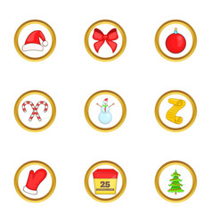 Christmas things icons set cartoon style vector