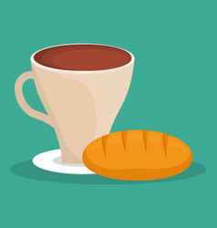 Coffee cup bread dessert vector