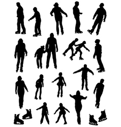 Collection of silhouettes of people on the fads vector