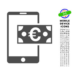 euro mobile cash icon with set vector image