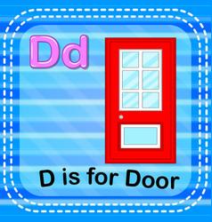 Flashcard letter d is for door vector