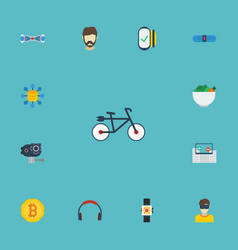 Flat icons bicycle camera bluetooth speaker and vector