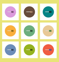 Flat icons set of dollar key concept on colorful vector