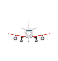 Front view jet airplane isolated icon vector