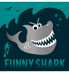 Funny shark with diver vector