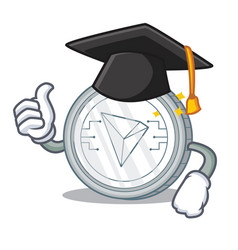 Graduation tron coin character cartoon vector