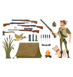 hunting elements set vector image vector image