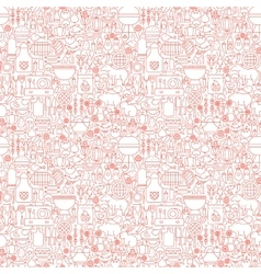 Line BBQ White Seamless Pattern vector image vector image